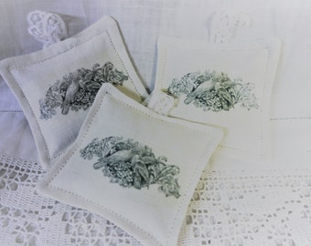 Lavender Sachet -  Two Doves & Scroll  -  Linen