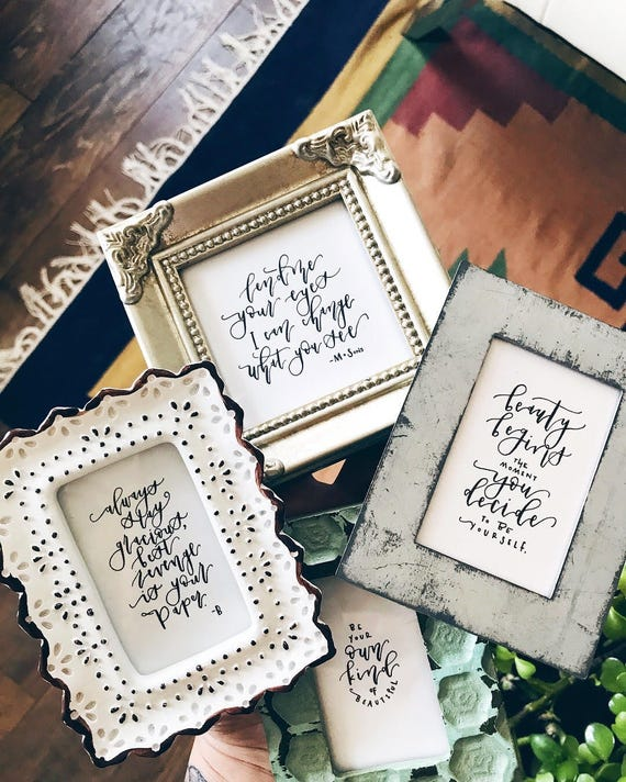 Mini-Framed Calligraphy Quotes Custom Quotes Modern