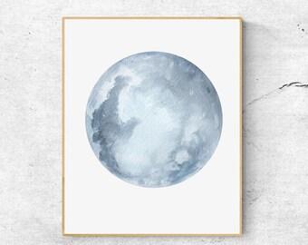 50% OFF Moon Print, Blue Grey Moon Art, Full Moon Print, Moon Art Print, Watercolor Moon Poster, Celestial Print, Modern Wall Art