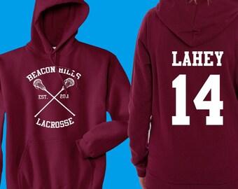 Teen Wolf Hoodie, Beacon Hills Lacrosse Hoodie, Lahey 14, Teen Wolf Hooded Sweatshirt Size S - 4XL - Stilinski, McCall, Hale, Available
