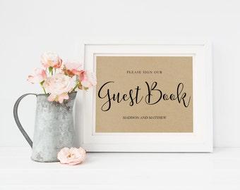 Wedding Sign Template | Guest Book Sign | Wedding Sign | Printable Wedding Sign | 5x7 & 8x10 | EDN 5411