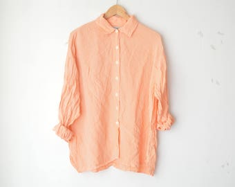 orange and white gingham plaid oversized button down shirt 80s // L