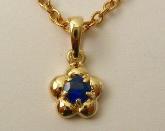 Genuine SOLID 9K 9ct Yellow GOLD September Birthstone Daisy Sapphire Pendant