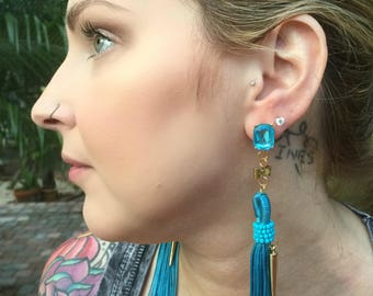 Cool Blues handmade tassel earrings