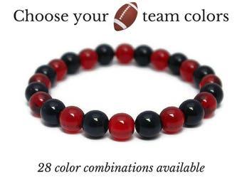 Football Team Spirit Jewelry - Sports Team Bracelet - Game Day Gifts - Football Fan Gear - Football Team Mom Gifts - Team Spirit Wear Ideas