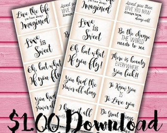 PRINTABLE Quote Cards, Journal Prompts, DIY, Embellishment, Scrapbooking, Labels, Love, Life, PDF, Instant Download, Digital, Aged, Script