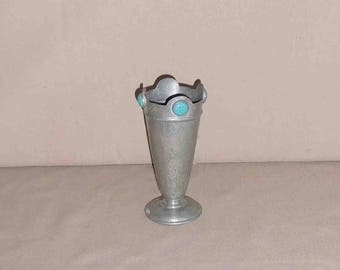 Vintage Pewter With Turquoise Stones  Small Vase, Stamp On Bottom M 609,Antique