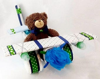 Airplane Diaper  Cake - Baby Shower Gift or Centerpiece - Diaper Cake - Baby Boy, Baby Girl, Neutral Baby Gift