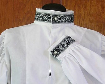 Rapier Shirt with Blackwork Collar - Gipsy Peddler SCA Fencing Armor