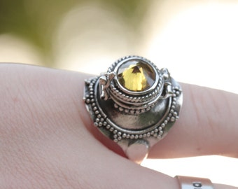 Poison Ring, Locket Ring, Boho Rings, Secret Compartment Ring, 925 Sterling Silver Ring, Citrine Ring, Sun, Gypsy Ring,