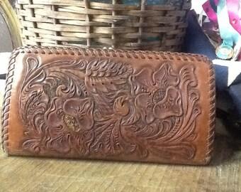 Vintage Leather Tooled Wallet