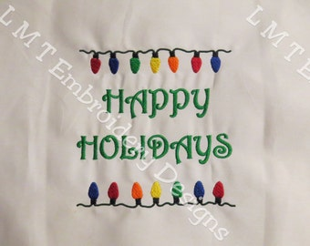 Happy Holidays - Christmas Lights Embroidery Design - 5x7