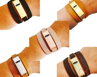 Fitbit Bracelet for FitBit Flex Fitness Trackers -The KATE INSIGHT Brushed Metal and Genuine Leather Wrap Buckle Fitbit Bracelet -Ships Free