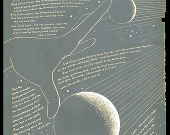 Vintage Astronomy print GOD CREATED The UNIVERSE 1 wall chart bookplate 9 1/2 x 6 1/4