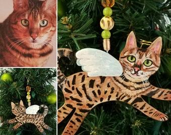 Custom Cat Angel Ornament - Cat Portrait Ornament - Cat Memorial - Christmas Cat Ornament - Cat Gift - Cat Angel - Gift Box