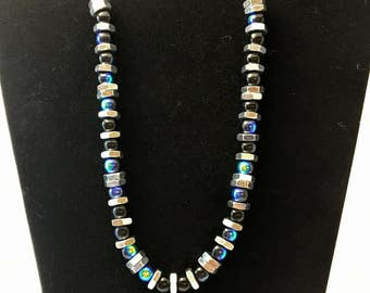 Blue and Black Hex Nut Necklace
