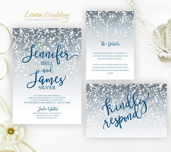 Cheap Wedding Invitations Packs Silver And Royal Blue