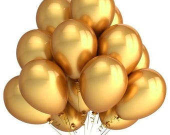 Metallic Chrome Gold Latex Balloons/ Metallic Gold Balloon/ Gold Balloons/ Glamorous Gold Latex Balloons