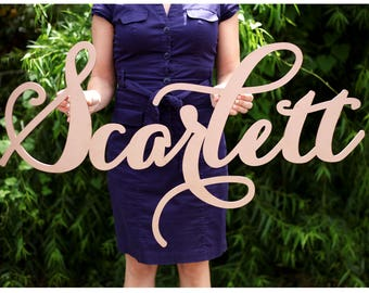 large laser cut name sign, carolyna calligraphy style