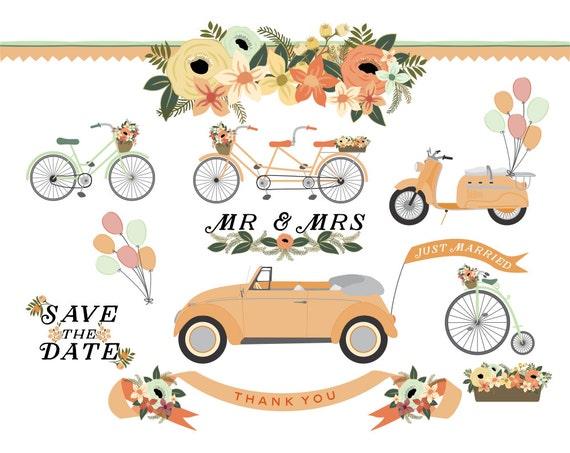 wedding car bicycle tandem scooter and vintage bike floral rh etsy com wedding vintage clip art vintage wedding clip art