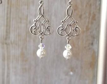 White Pearl Dangle Earrings - Pearl Silver Earrings - White Dangle Earrings - White Pearl Earrings - Pearl Dangle Earrings - Bridal Earrings