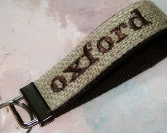 Personalized Embroidered - Monogrammed  Custom Wrist Key Chain - Key Fob Wristlet Keychain - in Burlap