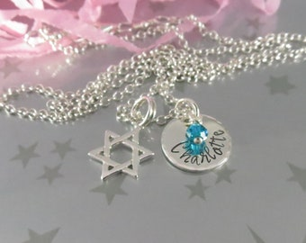 Bat Mitzvah Star of David  Necklace with Personalized Hand Stamped Name Charm in Sterling Silver and Swarovski Crystal Birthstone.