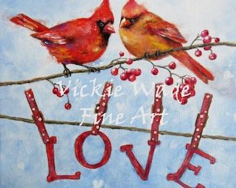 Cardinals Love Art Print, cardinal bird paintings, red birds, valentine's day, cardinals wall art, Christmas birds, lovers, Vickie Wade Art