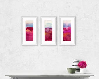 """Set of 3 Pink Abstract Paintings, watercolor art, Original ooak painting """"Abstraction 100"""" Set 1 Kathy Morton Stanion  EBSQ"""