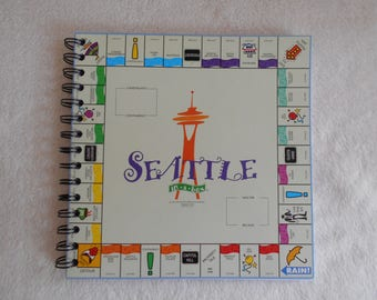 SEATTLE IN A BOX Monopoly - recycled board game journal/notebook/travel journal/sketchbook/diary/list holder/smash book/planner