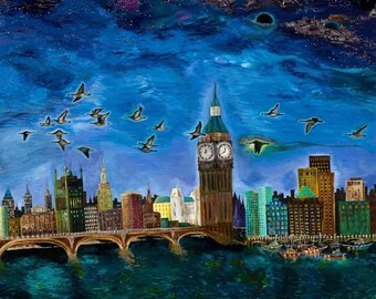 Print // Spirit Bird // night // cityscape // geese // geese in flight //  bridge // boats //  stars // galaxy