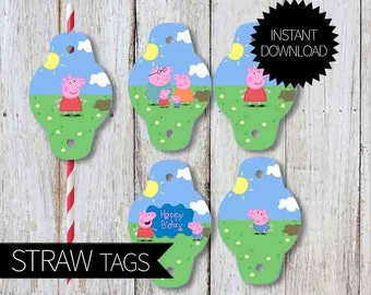Peppa Pig Birthday PartyPRINTABLE Straw Tags- Instant Download |Peppa Pig Cake Topper | Paper Straws Decoration