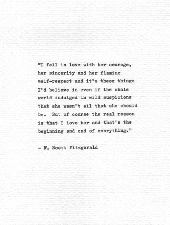 F. Scott Fitzgerald Letterpress Quote I Fell In