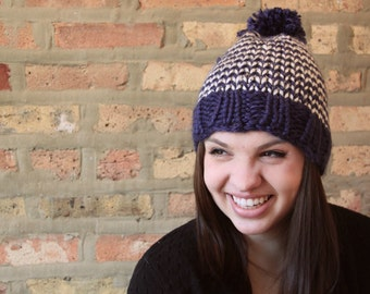 Striped Hat Winter Ski Hat with Pom Pom - Customize Colors!