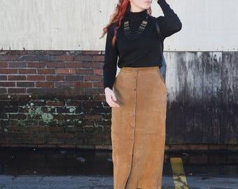 Sienna Suede Button Front Midi Skirt