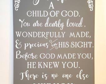 Child of God canvas, 11x14 nursery art, religious children's art, babies room art, 11x14 canvas art, nursery decor, Christian art