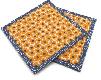 Orange Floral Quilted Pot Holders, Hot Pads, Insulated Potholders - Orange, Blue, and Ivory Flower Pot Holders