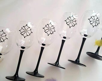 Occitan cross painted wine glasses