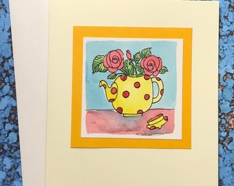 Teapot with Red Roses~ No Caption