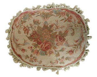 """SALE! Elegant French Aubusson Needlepoint """"Pettitpoint"""" Large Oblong Pillow With Floral Design 22"""" X 18"""""""