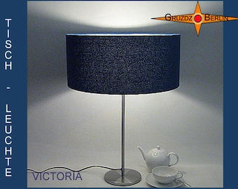 Table lamp blue VICTORA silk bourrette in blue table light