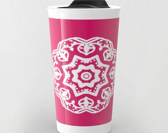 Mandala Travel Mug - Pink Ceramic Travel Mug With Lid - Pink and White Mandala Medallion Travel Mug - Aldari Home