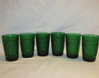 ANCHOR HOCKING JUICE Glasses Forest Green 1950s Set of 6 Sandwich Pattern