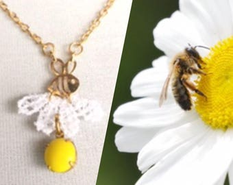 Daisies and bees necklace- jewelry for a cause