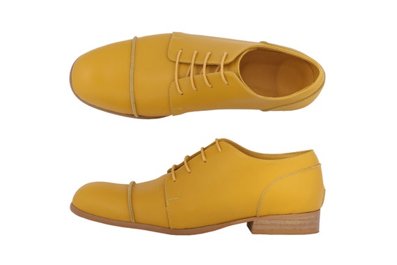 shipping Yellow yellow shoes handmade shoes ADIKILAV leather free Women's 4r0x7qw4