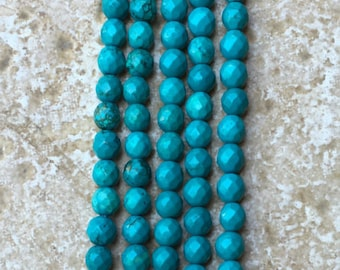 """Genuine Natural Turquoise Beads -Not Treated- FULL 16"""" strand of 6mm faceted Round Beads - deep blues with good matrix, about 64 beads-G1027"""