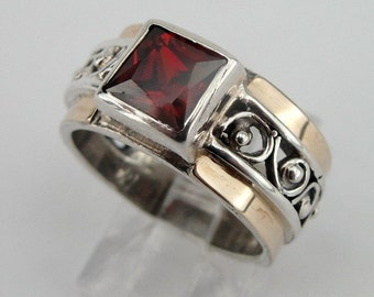 Garnet Ring, 9K Yellow Gold Silver filigree Garnet Ring size 7, Red Stone Ring, Yellow Gold Ring, 9k Garnet Gold Ring (s r1662)