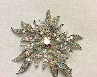 Sarah Coventry aurora borealis rhinestone hurricane brooch pin. Free ship