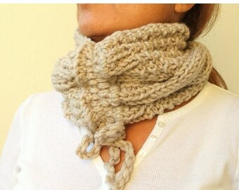 Clothing Gift . Outdoors Gift. Wheat Hand Knit Scarf Cowl Drawstring Cable Chunky  Gift Under 30 Christmas Gift Idea
