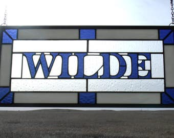 Surname Sign, Custom Stained Glass, Family Name Plaques, Stained Glass Panel